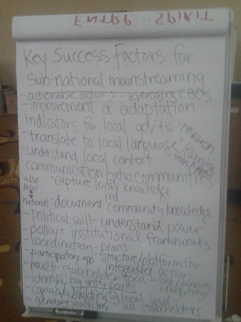 Success factors for sub-national mainstreaming of adaptation identified by participants in #CBA11 https://t.co/9BlozWcv3A