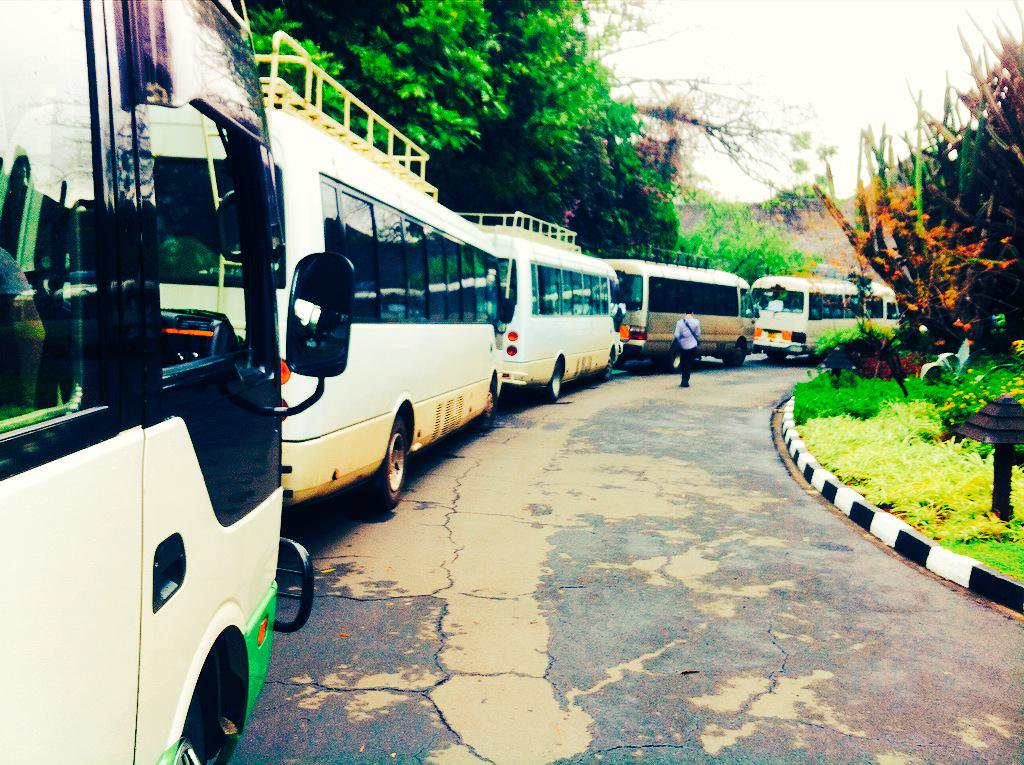 Busses lined up for #CBA9 field visits. 200 excited participants ready to learn more on #community-based #adaptation http://t.co/v4uaOe45s9