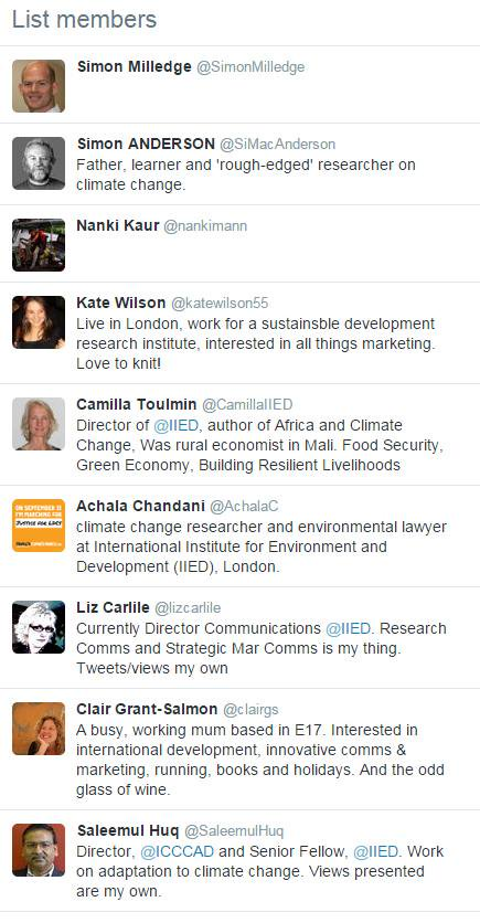 #FF to all of the @IIED tweeters at #COP20.   You can follow them here -->  https://t.co/Vq05Pf2ES4 http://t.co/2XSkaZQhRH