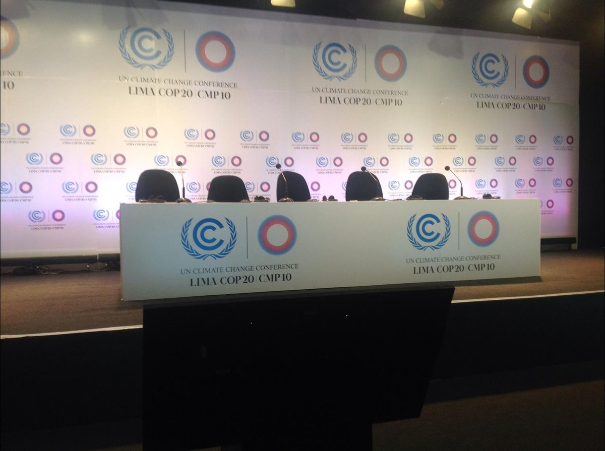Press conference on @UNEP Adaptation Gap Report about to start at 12.00 Hrs @LimaCop20 webcast on @UNFCCCwebcast http://t.co/k9TNtb27Hi